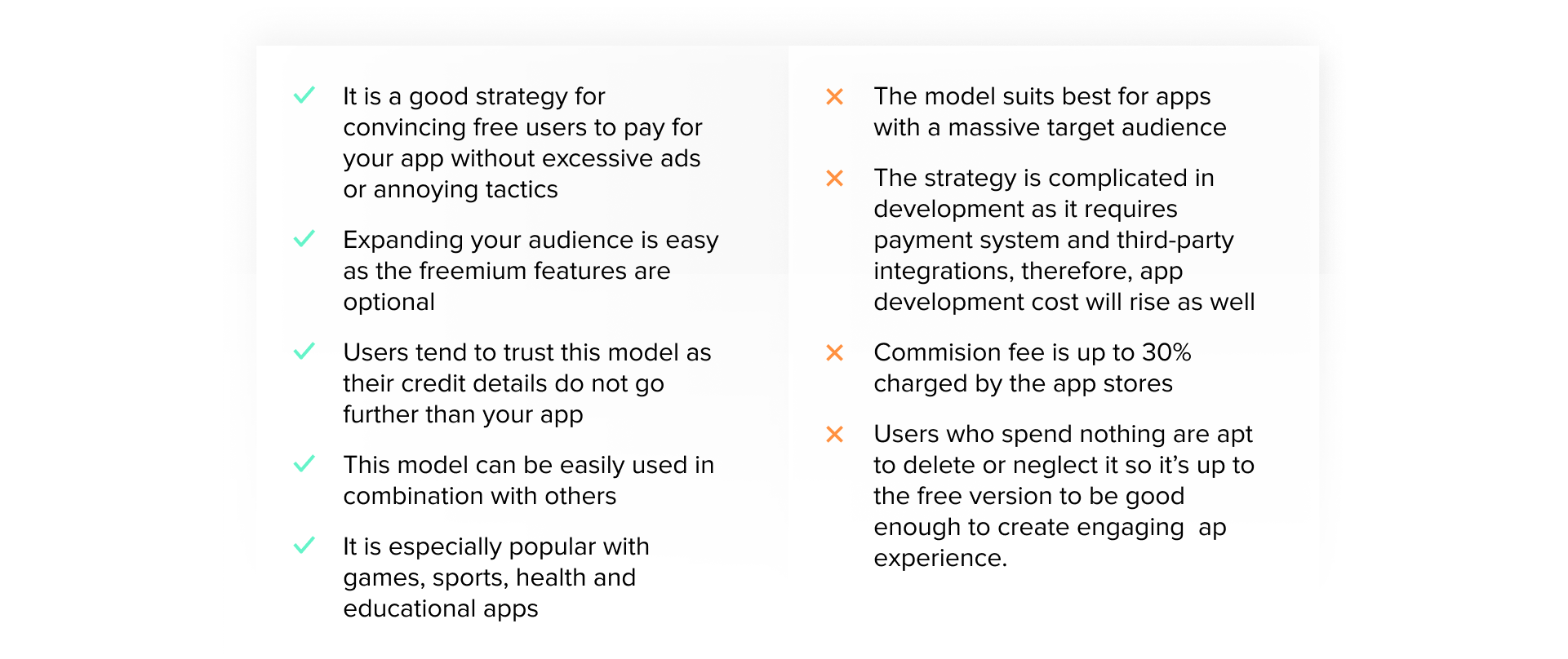 pros and cons of Freemium and In-App Purchase revenue monetization model