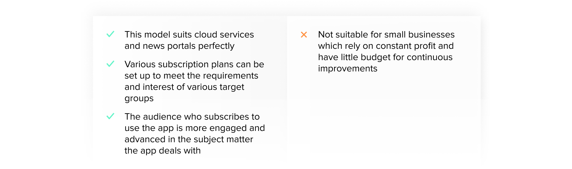pros and cons of Subscription Model revenue monetization model