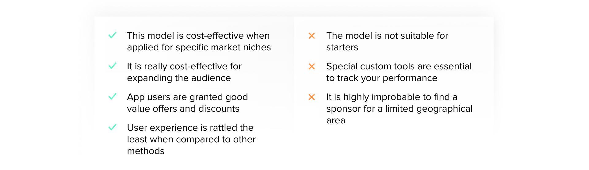pros and cons of Sponsorship Model revenue monetization model