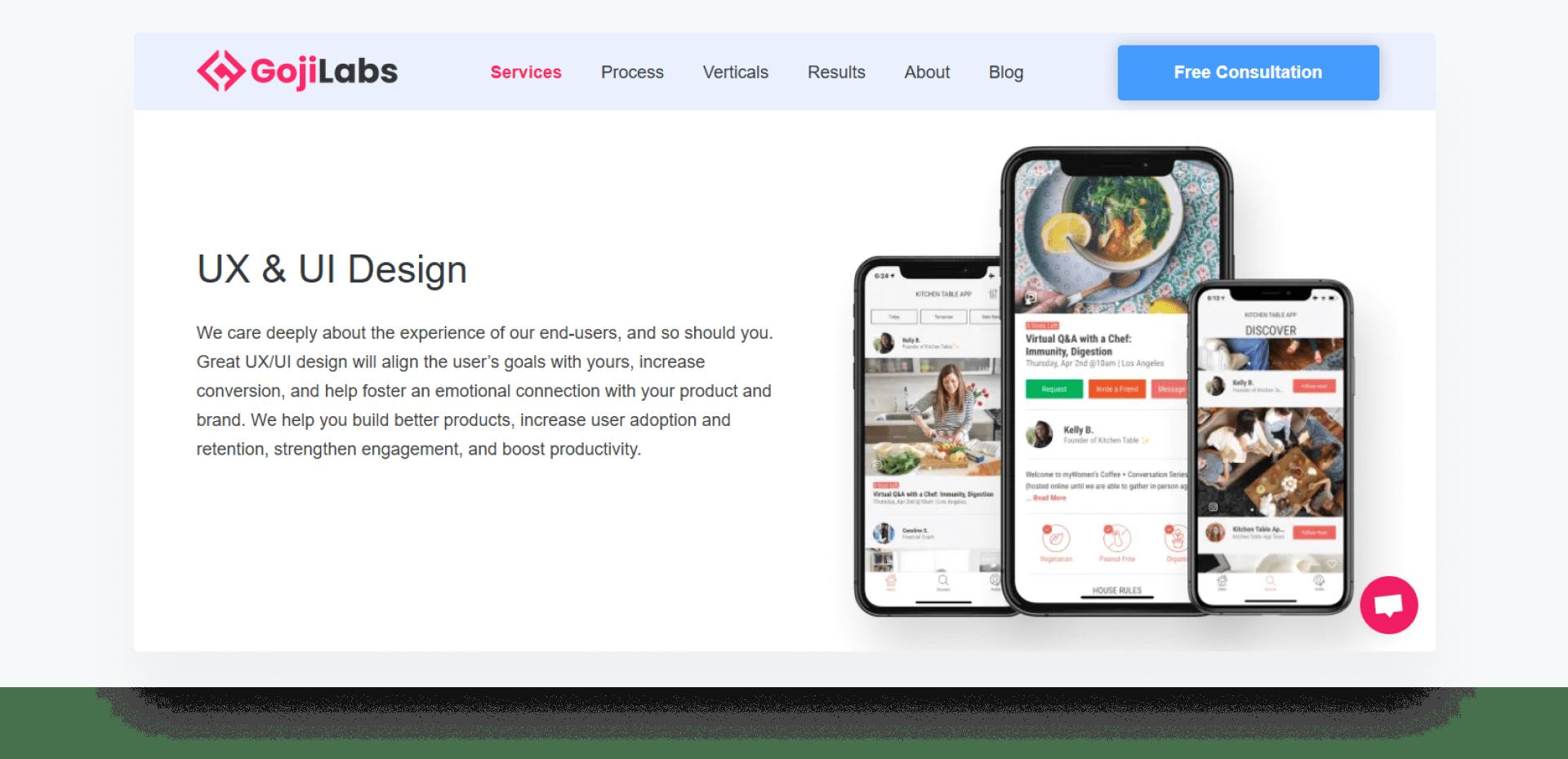 Goji Labs - development company home page